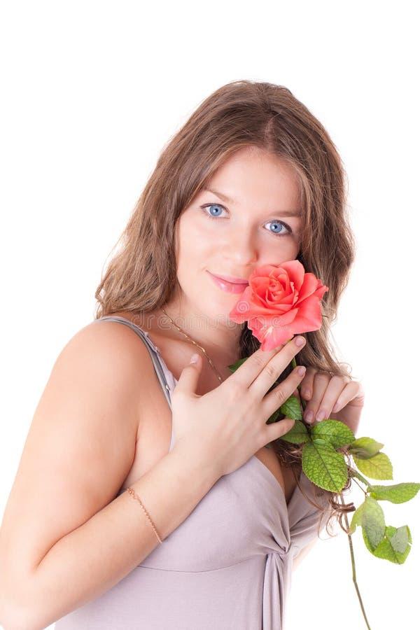 Menina com uma rosa vermelha foto de stock royalty free