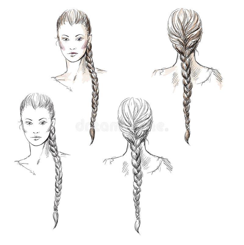 Menina com uma trança, desenhado à mão ilustração stock