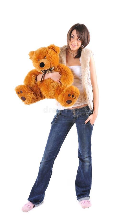 Menina com urso da peluche fotografia de stock