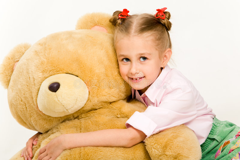 Menina com urso de peluche imagens de stock royalty free