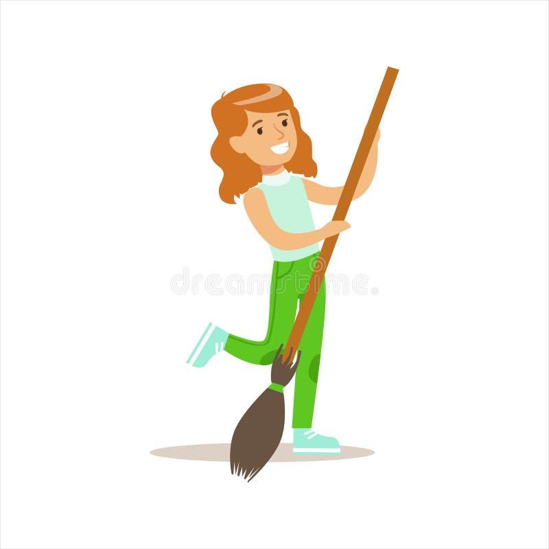 Menina com a vassoura que ajuda na jardinagem Eco-amigável fora parte das crianças e da série da natureza ilustração stock