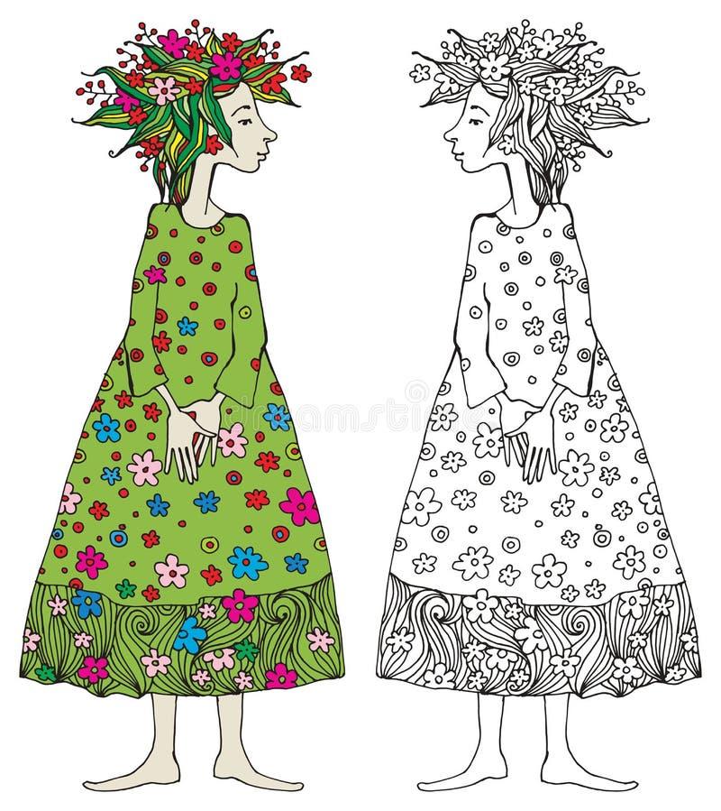 Menina com vestido verde ilustração royalty free