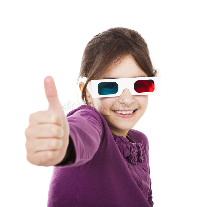Menina com vidros 3D imagens de stock