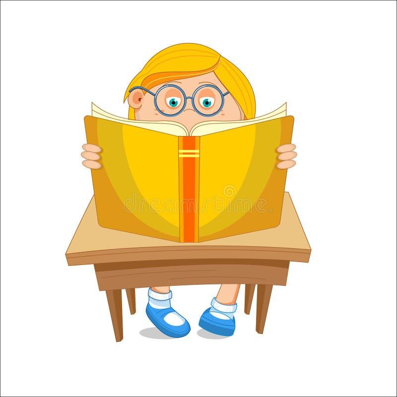 Menina com vidros, lendo o livro aberto, sentando-se na tabela, vect ilustração royalty free