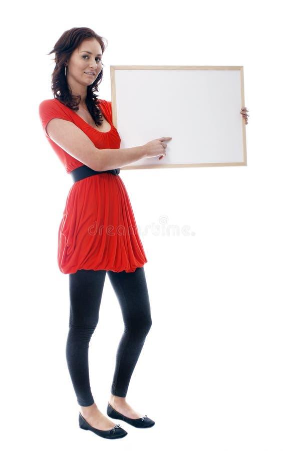 Menina com whiteboard imagem de stock