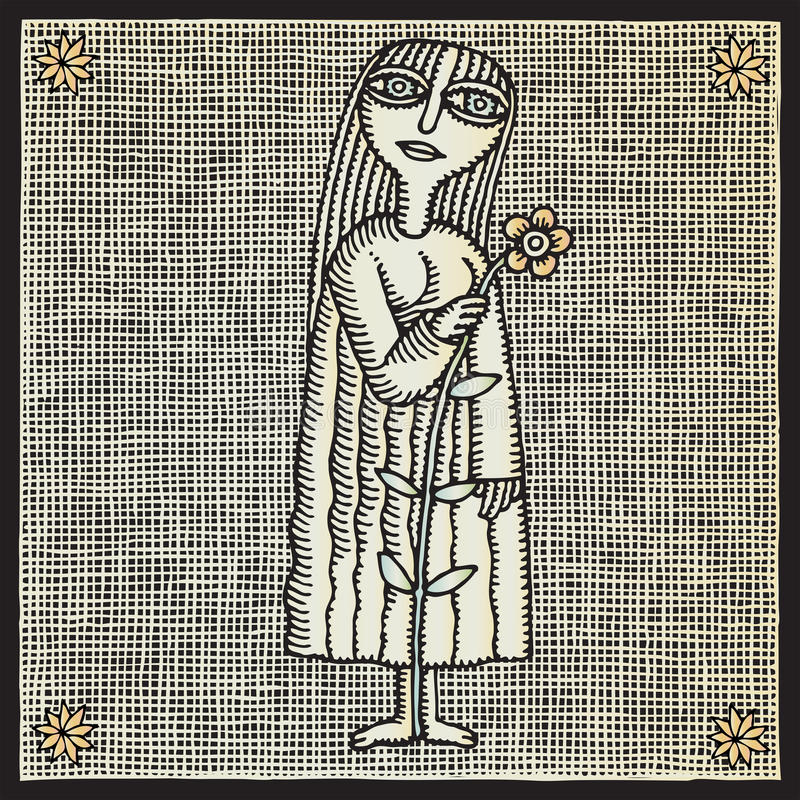 Menina com woodcut da flor ilustração royalty free