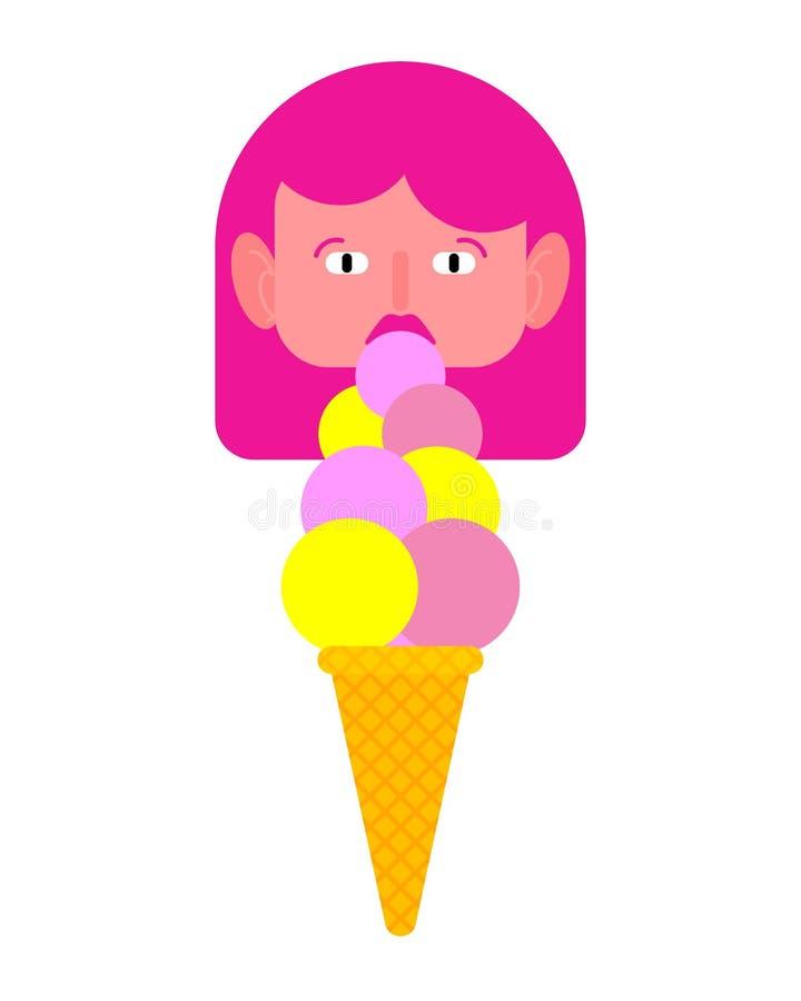 A menina come o gelado fêmea e geladobonitos felizes ilustração royalty free