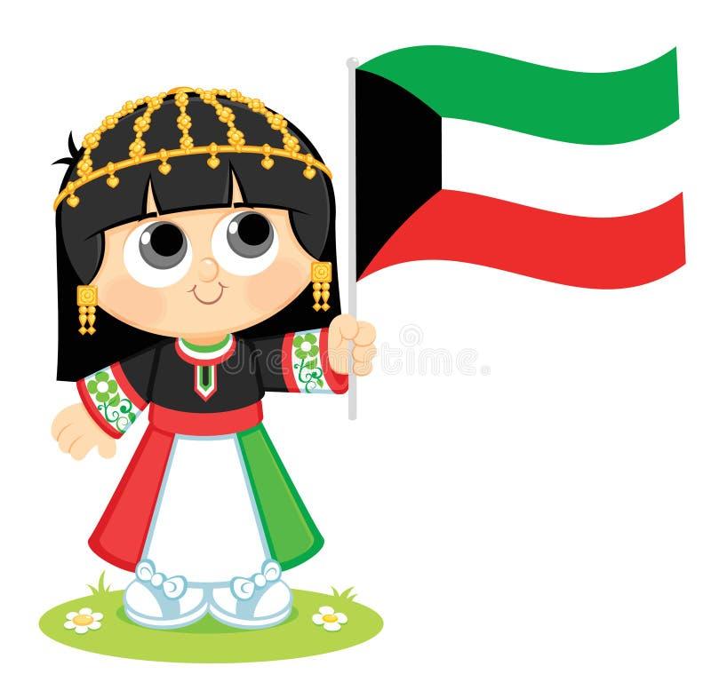 A menina comemora o dia nacional de Kuwait