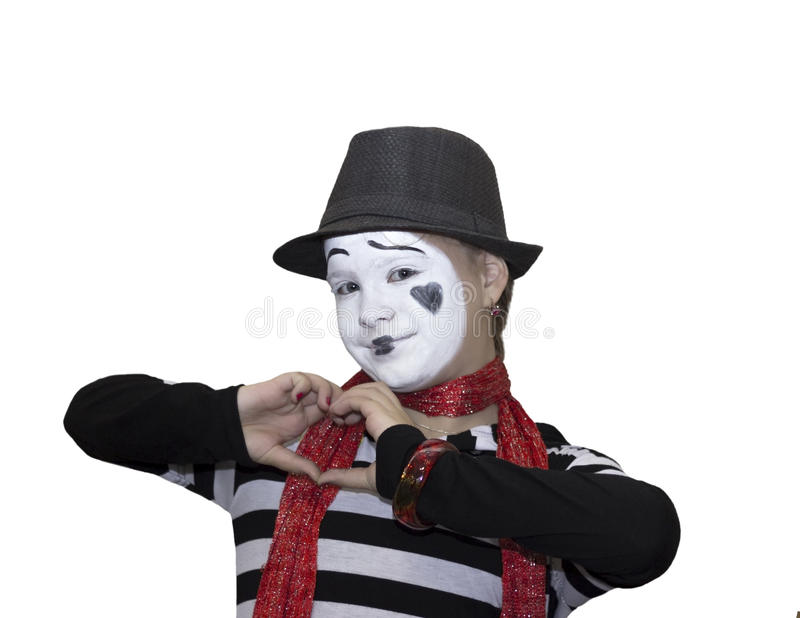 Menina como mimicam ator isolado no branco fotografia de stock
