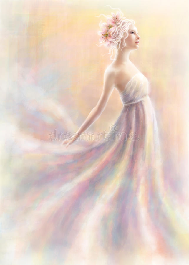 A menina como uma flor do lírio ilustração royalty free