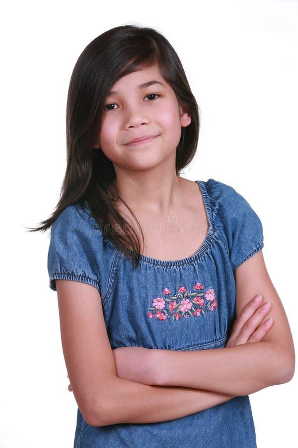 Menina confiável dos anos de idade nove foto de stock royalty free