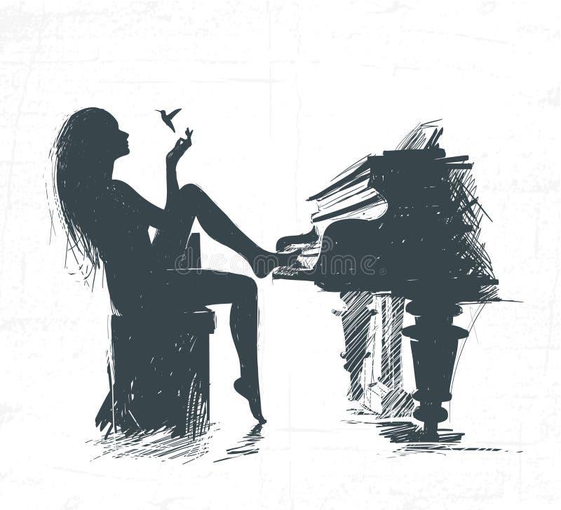 Menina confundida do piano e dos olhares no colibri ilustração royalty free