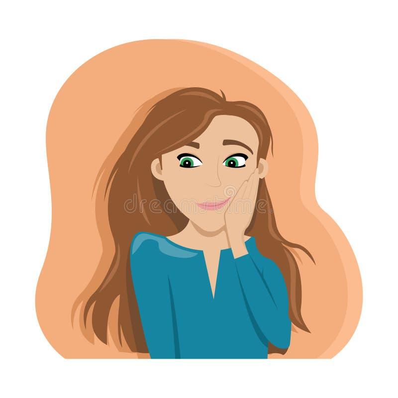 Menina confusa com cabelo vermelho embarrassment shyness ilustração do vetor