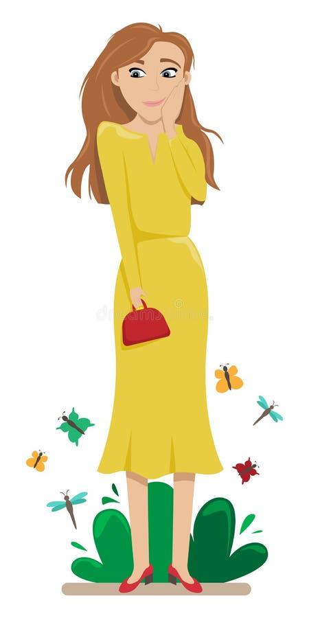 Menina confusa com cabelo vermelho entre borboletas embarrassment shyness Ilustra??o lisa do vetor ilustração stock