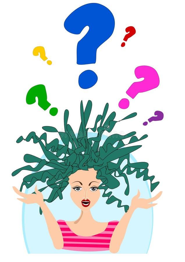 Menina confusa do dia mau do cabelo ilustração royalty free