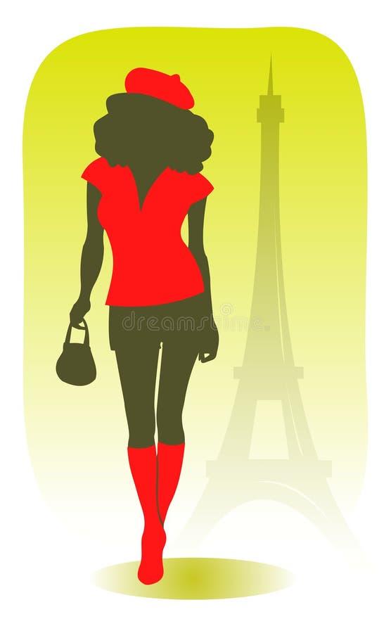 Menina consideravelmente parisiense ilustração do vetor
