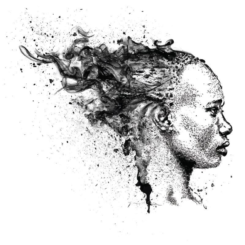 Menina consideravelmente preta Mulher preta bonita Opinião do perfil Ilustração do vetor da tração da mão ilustração do vetor