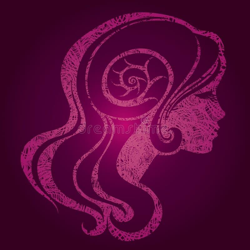Menina cor-de-rosa do vetor com cabelo bonito ilustração royalty free
