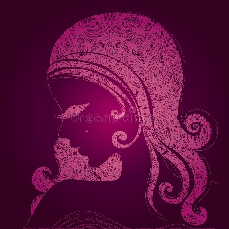 Menina cor-de-rosa do vetor com cabelo bonito ilustração do vetor