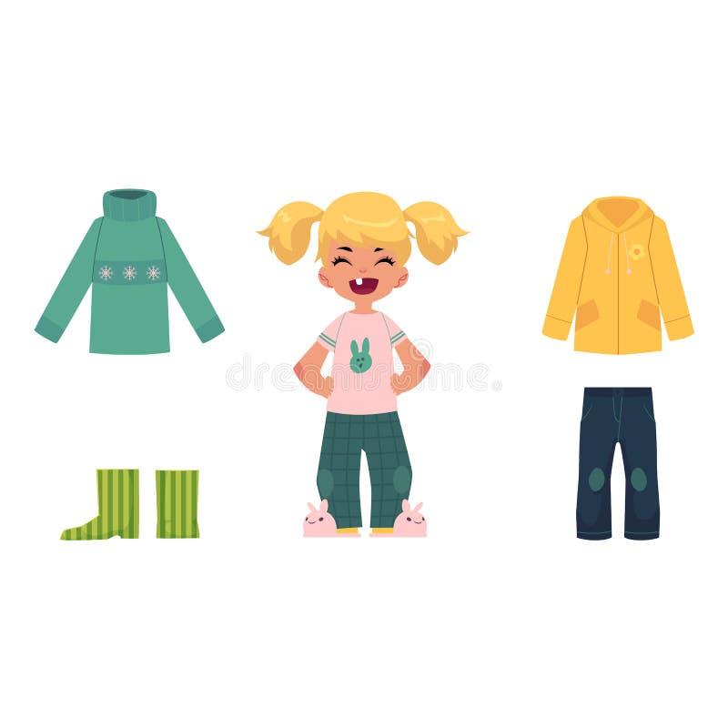 Menina, criança, criança e sua roupa do outono ilustração do vetor