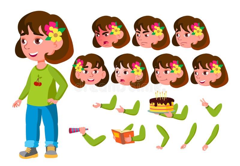 Menina, criança, criança, vetor adolescente escolar novo Emoções da cara, vários gestos Grupo da criação da animação Plano isolad ilustração stock