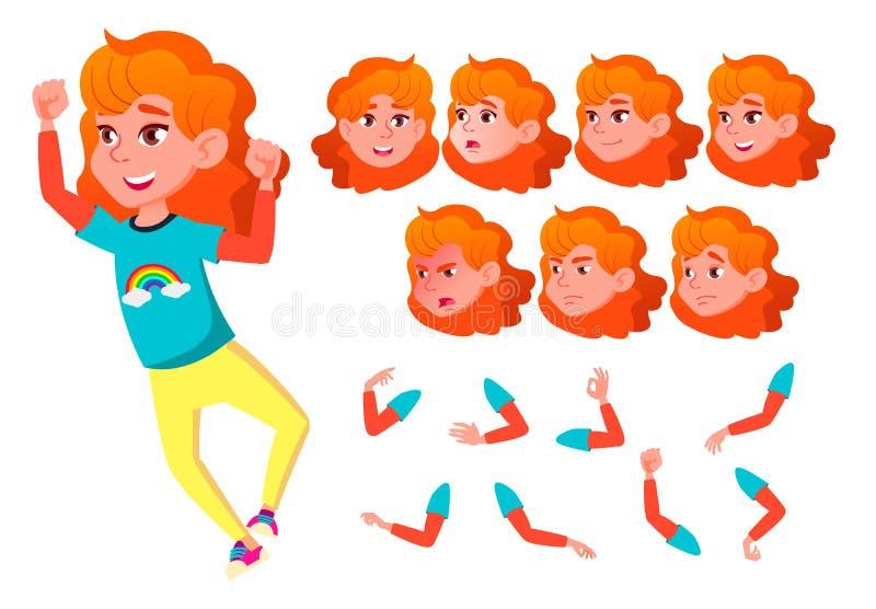 Menina, criança, criança, vetor adolescente Sorriso cute Apreciação da felicidade Emoções da cara, vários gestos Cabeça vermelha  ilustração do vetor