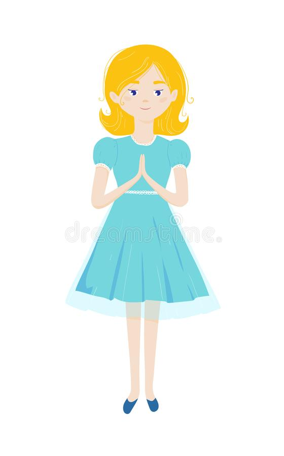 A menina cristã reza com mãos dobradas na oração e na posição Primeiro comunh?o santamente ilustração do vetor