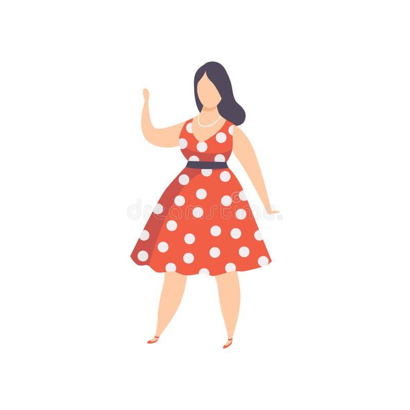 Menina Curvy, excesso de peso no vestido retro do às bolinhas vermelho, bonito mais a mulher da forma do tamanho, vetor do positi ilustração stock