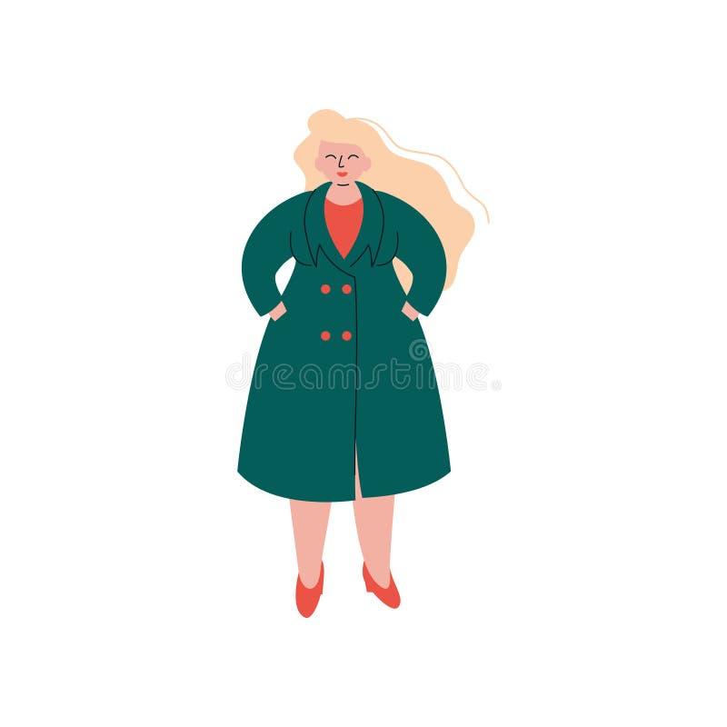 Menina Curvy loura atrativa no revestimento de trincheira da forma, bonito mais a ilustração gorda do vetor da mulher do tamanho ilustração royalty free