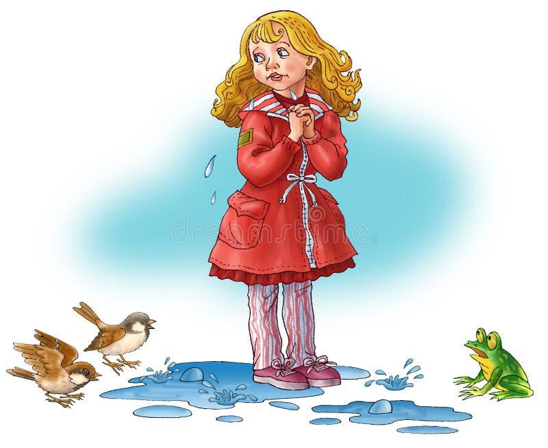 A menina custa em uma água e weep. ilustração stock