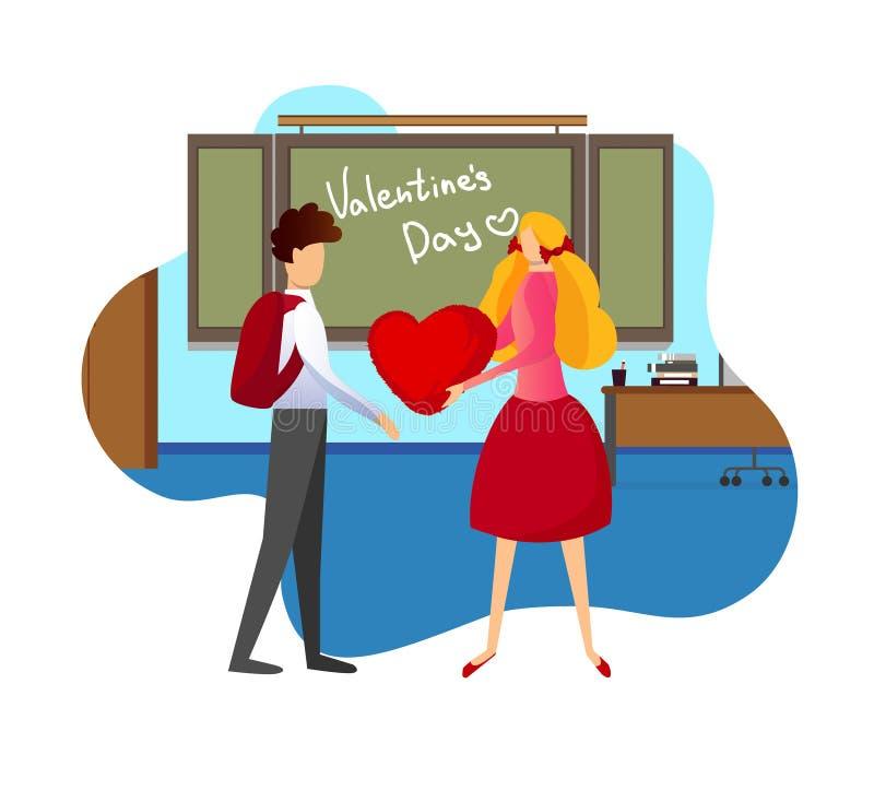 A menina dá o coração vermelho ao amigo de menino na sala de aula ilustração royalty free