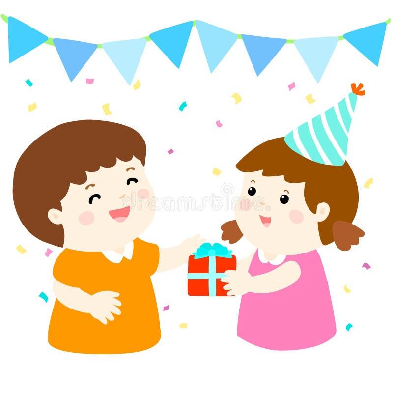 A menina dá o presente ao menino no partido ilustração do vetor