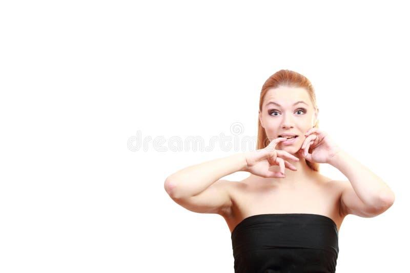 Menina da alegria Feche acima do retrato Modelo louro novo fêmea Olhos azuis foto de stock royalty free