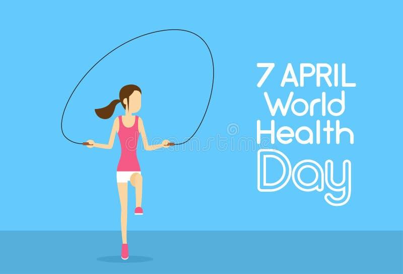 A menina da aptidão do esporte salta o dia de saúde de mundo 7 April Holiday do treinamento físico de corda de salto ilustração do vetor