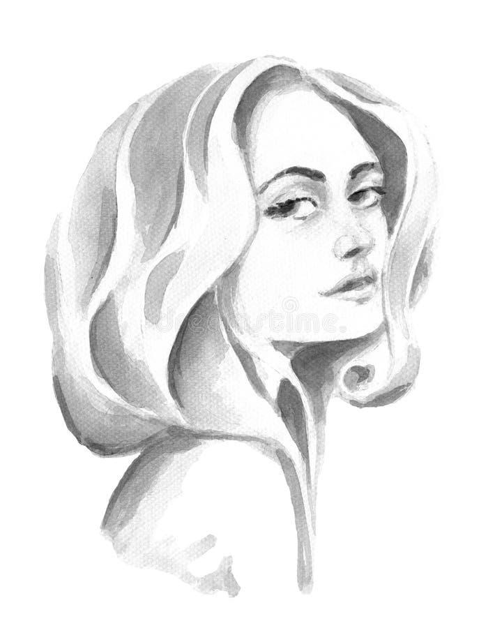 Menina da aquarela com cabelo magnífico ilustração do vetor