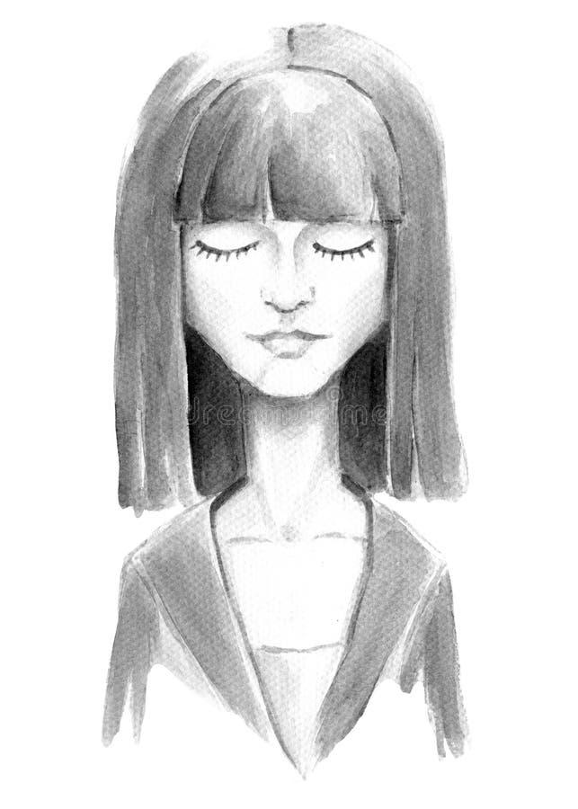 Menina da aquarela com olhos fechados ilustração royalty free