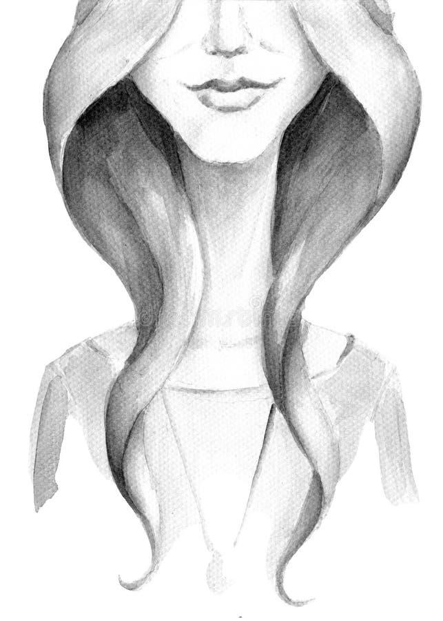 Menina da aquarela com sorriso ilustração royalty free