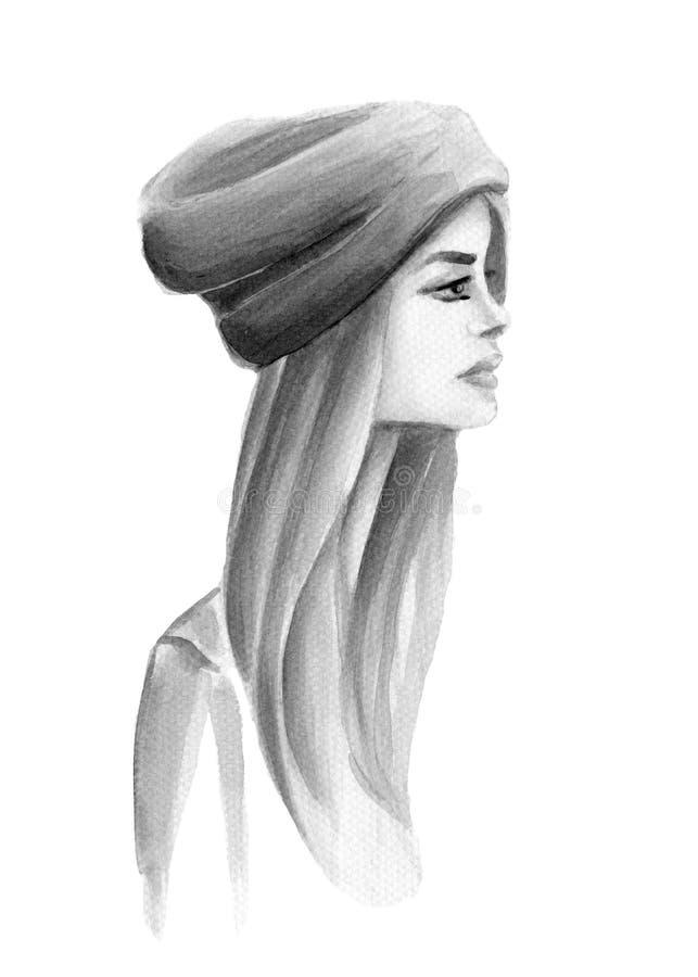 Menina da aquarela com um chapéu no perfil ilustração stock