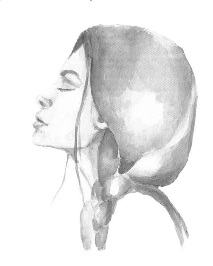 Menina da aquarela com uma dobra ilustração royalty free