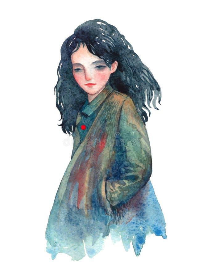 Menina da aquarela em um revestimento ilustração royalty free