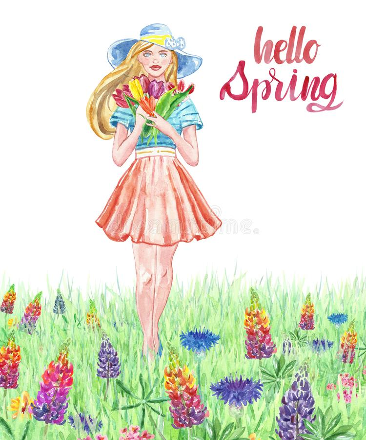 Menina da aquarela no vestido e no chapéu bonitos que anda em um prado floral com grama Jovens mulheres com o ramalhete floral no ilustração stock