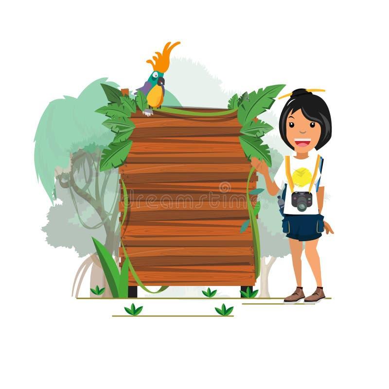 Menina da aventura com apresentação selva da placa de madeira - ilustração stock