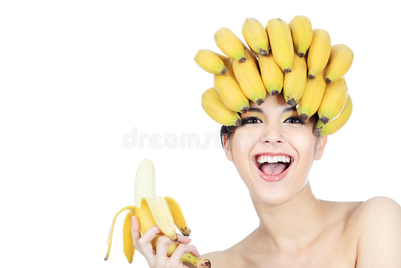 Menina da banana imagens de stock