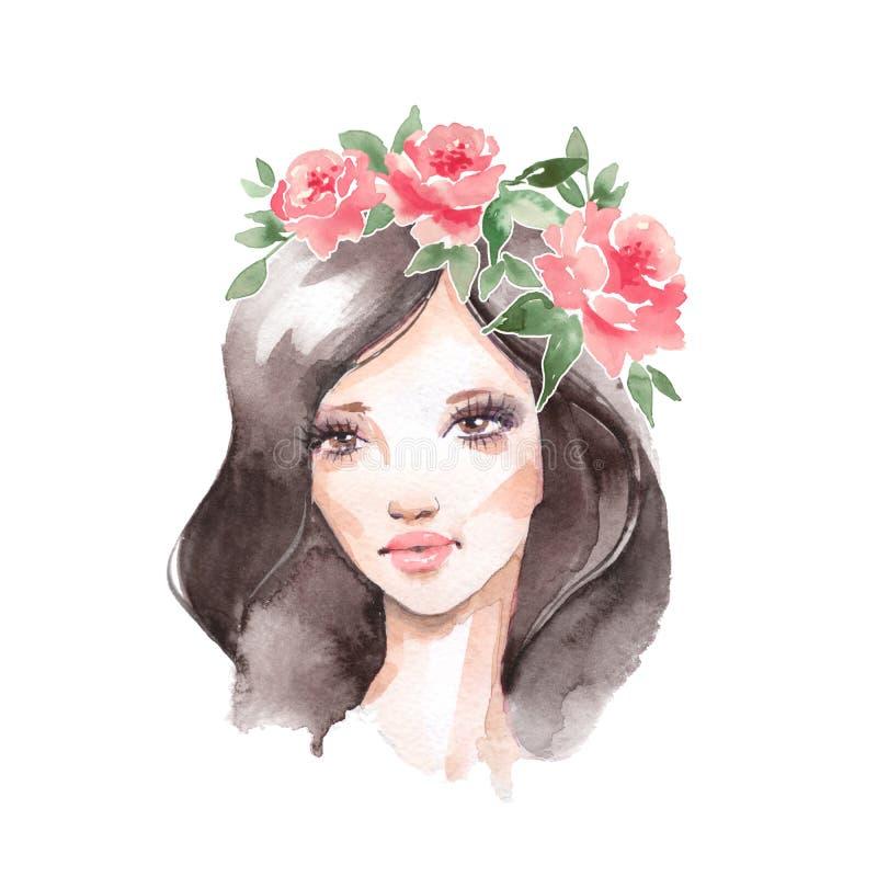 Menina da beleza da aquarela com cabelo escuro e a grinalda floral ilustração royalty free