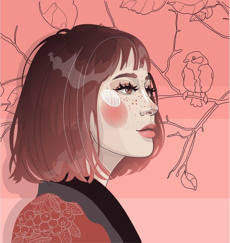 A menina da beleza encontra o outono ilustração royalty free
