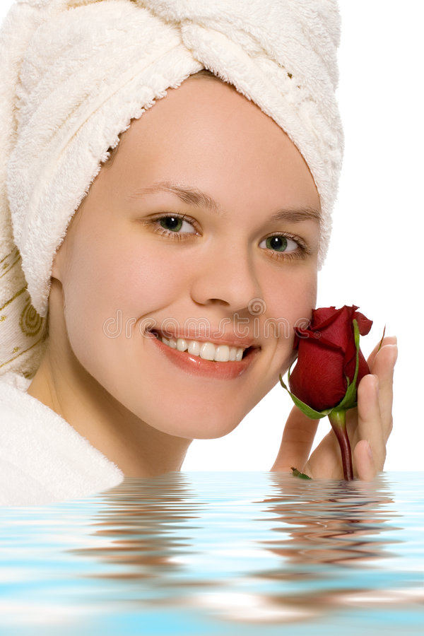 Menina da beleza na toalha fotos de stock royalty free