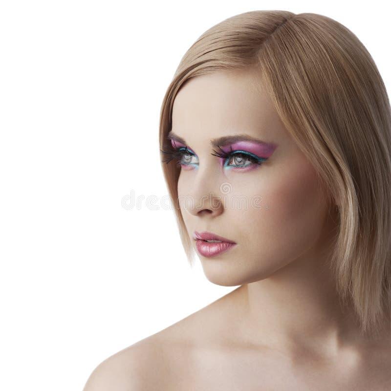 Menina da beleza que olha lateralmente com completamente fotos de stock