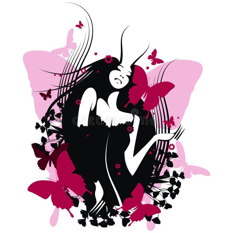 Menina da borboleta ilustração do vetor