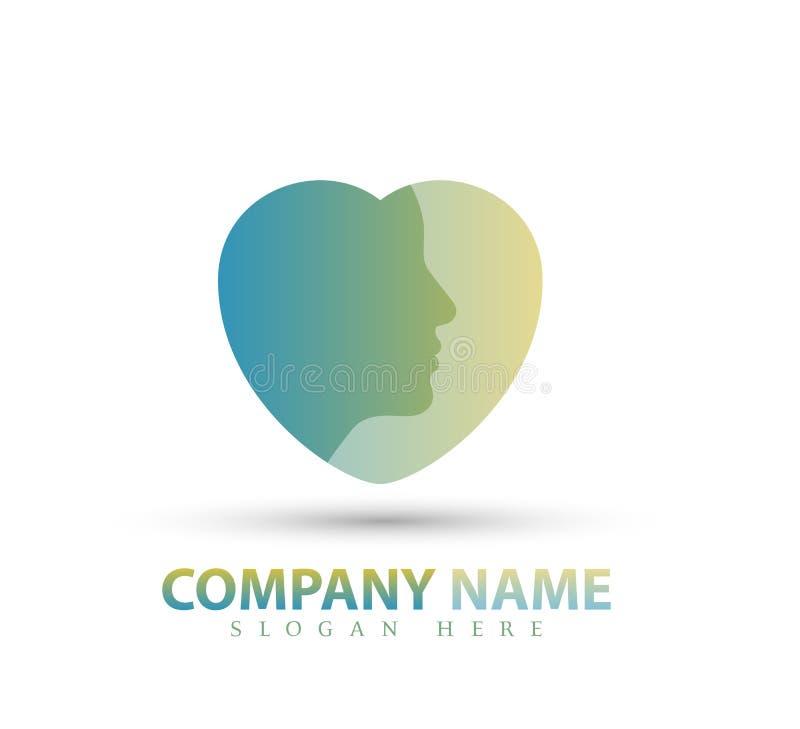 Menina da cara do vetor, cuidado, forma Logo Icon Design do coração da beleza ilustração stock
