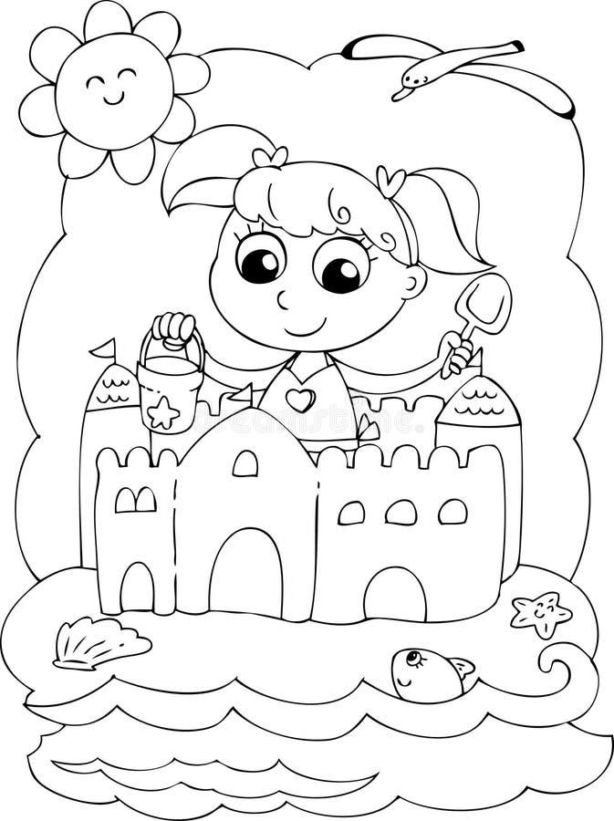 Menina da coloração na praia com cubeta e pá ilustração royalty free
